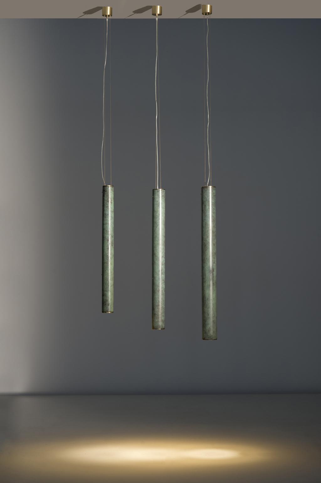 Monocle long S - Monocle long M-Monocle long L Green patina