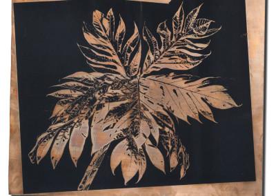 Palms-2-mixed-media-black-on-bronze